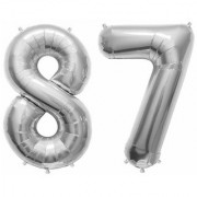 De-Ultimate Solid Silver Color 2 Digit Number (87) 3d Foil Balloon for Birthday Celebration Anniversary Parties