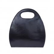 Borsa da donna semiovale con manico incorporato in pelle lucida e conciata al vegetale nero made in italy produzione di pelletteria toscana