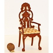 Dollhouse Miniature Dollhouse Miniature Ornate Hand Carved Victorian Dining Room Arm Chair in Walnut