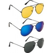 NuVew Aviator Sunglasses(Green, Blue, Violet, Yellow)