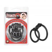 Macho Silicone Duo Cock/Ball Ring (Blk)