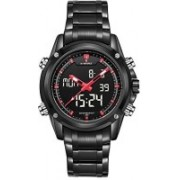 PHCOOVERS Black19692 NAVIFORCE Men's Sport Stainless Steel LED Dual Time Dispaly Analog Digital Watch-Black & Red Watch - For Men