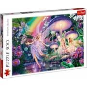 Puzzle peisaj padure flori multicolore zane si iele pe malul apei 500 piese