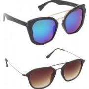 Pogo Fashion Club Butterfly, Wayfarer, Over-sized, Wrap-around Sunglasses(Brown, Blue)