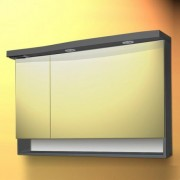 Dulap baie cu oglinda si iluminare Sanotechnik Roma 110, antracit   stanga