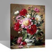 with wood frame, flower-106: Wood Frame, Paint by Numbers DIY Oil Painting Vintage Flowers Canvas Print Wall Art Home Decoration by Rihe