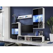 Smartshop JALEN, obývací stěna, bílá/černý lesk