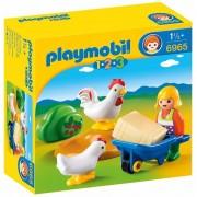 Playmobil 123 - Granjera Con Gallinas - 6965