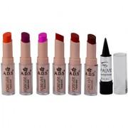 ADS Cinema Beauty Glossy Shine Forever Lipstick Pack of 6 And Free Kajal-GPTGP-B2