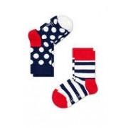 Happy Socks KIDS - 2 Pack - Stripes en Dots - blauw wit rood