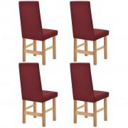 vidaXL Покривни калъфи за столове, еластични, 4 бр, бордо, пике