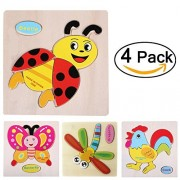 Mingyuhui 4 Pcs 3D Wooden Puzzles Jigsaw Educational Toys Puzzle for Toddlers Adult Kids 1-5 Years(Pack of 4)-Transportation-Truck Ship Plane Balloon (Insects Set)