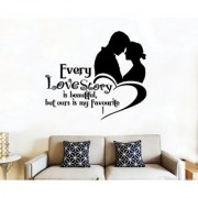EJA Art Love Story Wall Sticker (Material - PVC) (Pec - 1) With Free Set of 12 pec butterflies sticker