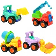 Phenovo 4Pcs/Set Plastic Inertial Engineering Car Tractor Tanker Toys Model Farm Vehicle Harvesters Trailer Boy Toys Car Models Kids Children's Day Xmas Gifts Educational Toys