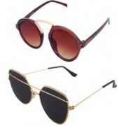 Daller Round, Retro Square Sunglasses(Black, Brown)