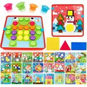 JoyGrow Button Art Color Matching Mosaic Pegboard Set Educational Color & Geometry Shape Cognition Skill Learning Toddler Toys for Boys Girls (72 PCS and 24 templates )