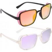 NuVew Wayfarer, Shield Sunglasses(Red, Golden, Violet)