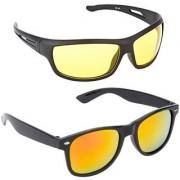 Combo of Night driving sunglass And Orange mirror wayfarer Sunglasses