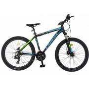 Bicicleta hidraulica MTB-HT CARPAT C2681H roata 26 cadru aluminiu frane hidraulice disc transmisie Shimano 21 viteze negru-albastru