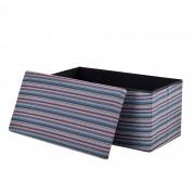 Сгъваема табуретка с място за съхранение [en.casa]® ,76cm x 38cm x 38cm, Многоцветна синя