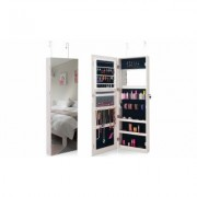 Costway Wall&Door Mounted Jewelry Cabinet Lockable Storage Organizer w/Mirror White