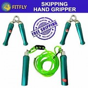 BRANDED SKIPPING ROPE WOODEN & PAIR OF HAND GRIPPERS WOODEN
