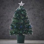 Merkloos Fibre Optic kunst Kerstboom met verlichting 60 cm