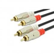 EDNET 84592 :: Аудио кабел, 2x RCA, M/M, стерео, екраниран, cotton, gold, 5.0 м