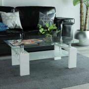 vidaXL magasfényű fehér dohányzóasztal alsó polccal 110 x 60 40 cm
