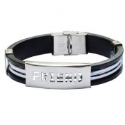 Men Style Hot Selling Friend SBr005022 Silver and Black Stainless Steel and Silicone Bracelet For Men and Boys