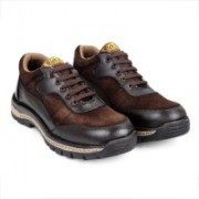 RICH FIELD Genuine Leather Safety shoe with Steel Toe. Running Shoes For Men(Brown)