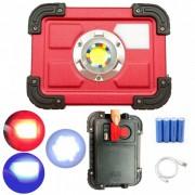 Proiector COB LED 30W cu Acumulatori, USB si Semnal Rosu Albastru W827