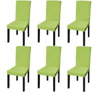 vidaXL Capa extensível para cadeiras, 6 pcs, verde