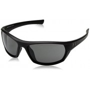 Under Armour Ua Powerbrake anteojos de sol polarizadas, Ua Powerbrake Satin Black / Black Frame / Gray Lens, Medium/Large