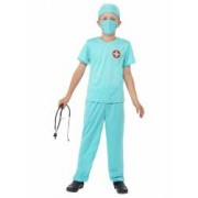 Costum doctor chirurg copii cu stetoscop 130 cm 6-7 ani