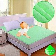 Fully WaterProof Mattress Protector Sheet With Elastic Strap For Double Bed - Green