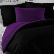 Lenjerie de pat din satin Luxury Collection, negru /violet închis, 140 x 200 cm, 70 x 90 cm
