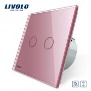 Intrerupator draperie wireless cu touch Livolo din sticla, roz