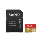 Memoria SanDisk MicroSDHC UHS-I Extreme Action Cam De 32 GB, Clase 10, Incluye Adaptador SD. SDSQXAF-032G-GN6AA