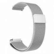 Curea tip Milanese Loop compatibila Smartwatch 24mm telescoape QR Argintiu