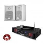 Skytec SPL 300 VHF amplificador PA en set 2 parlantes cable de altavoz blanco (PL-10870-29673)