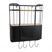 Xenos Wand-bakkerskast met deurtje - 45x20x48 cm - zwart