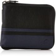 Fastrack Men Casual Black, Blue Genuine Leather Wallet(3 Card Slots)