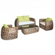 Set mobilier, terasa, bar, din ratan, 4 piese, masa, canapea, 2 fotolii, Knaki, MN0195217, Hascevher