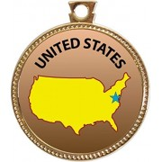 United States Award, 1 inch dia Gold Medal 'State Studies Collection' by Keepsake Awards