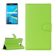 For Blackberry Priv Litchi Texture Horizontal Flip Leather Case with Magnetic Buckle & Holder & Card Slots & Wallet(Green)
