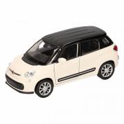 Merkloos Speelgoed wit/ zwarte Fiat 500 L auto 11,5 cm