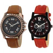 Jack Klein Combo of Stylish Brown Strap And Red Strap Watches