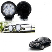 Auto Addict DEVICE 4 inch 9 LED 27Watt Round Fog Light with Flood Beam Auxiliary Lamp Set Of 2 Pcs For Ford Fiesta Classic