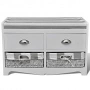 vidaXL Пейка с място за съхранение възглавница 2 чекмеджета кошници бяла